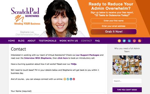 Screenshot of Contact Page scratchpadsecretaries.com - Contact - Scratchpad Secretaries | Virtual Assistant | Vancouver, BC - captured Oct. 26, 2014