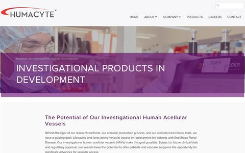 Screenshot of Products Page humacyte.com - Products | Vascular Tissue Grafts | Humacyte - captured May 9, 2017