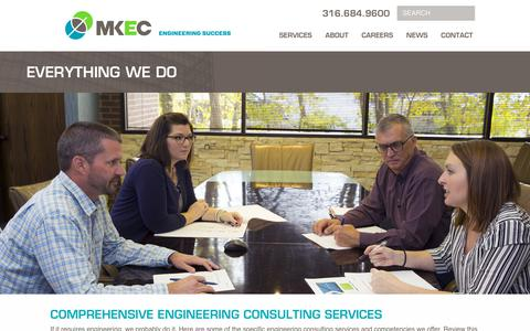 Screenshot of Services Page mkec.com - Comprehensive engineering consulting services - Everything We Do - captured Oct. 1, 2018