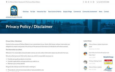 Screenshot of Privacy Page pelicanwaters.com - Privacy Policy / Disclaimer - Pelican Waters - captured Sept. 27, 2018