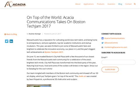 On Top of the World: Acacia Communications Takes On Boston TechJam 2017 - Acacia Communications, Inc.