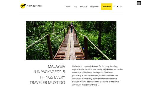 Screenshot of Blog pickyourtrail.com - PickYourTrail - Stop Touring. Start Traveling! - captured Sept. 29, 2014