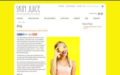 Screenshot of Blog skinjuice.com.au - Blog - Skin Juice - captured Oct. 26, 2014
