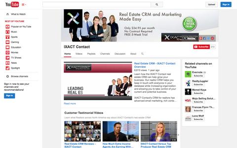 Screenshot of YouTube Page youtube.com - IXACT Contact  - YouTube - captured Oct. 23, 2014