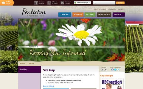 Screenshot of Site Map Page penticton.ca - Site Map | City of Penticton - captured Sept. 19, 2014