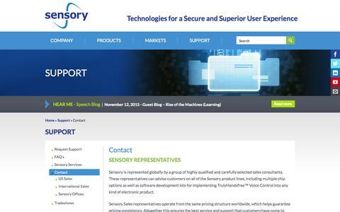 Screenshot of Contact Page sensory.com - Contact | Sensory - captured Nov. 20, 2015