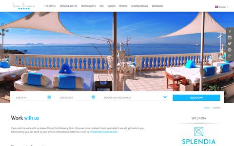 Screenshot of Jobs Page hotelvistabella.com - Work with us – Hotel Vistabella – 5 stars hotel in Roses, Costa Brava - Girona - captured Jan. 8, 2016