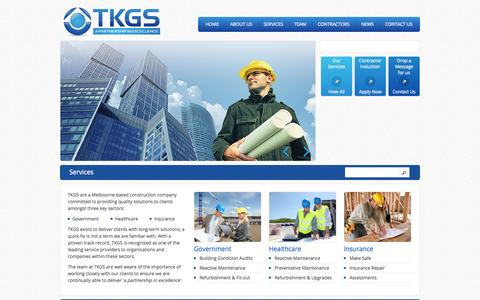 Screenshot of Services Page tkgs.com.au - Services | TKGS - captured Oct. 9, 2014