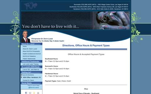 Screenshot of Maps & Directions Page drdevin.com - Directions, Office Hours & Payment Types | Spinal Care of Nevada - captured Oct. 6, 2014