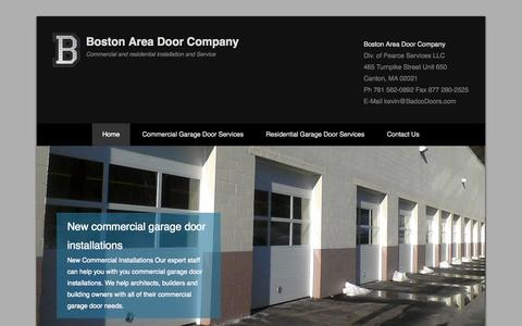 Screenshot of Home Page Menu Page badcodoors.com - Boston Area Door Company | Commercial and residential installation and Service - captured Oct. 5, 2014