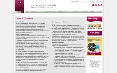Screenshot of Terms Page maraseaweed.com - Terms & Conditions » Mara Seaweed - captured Oct. 27, 2014