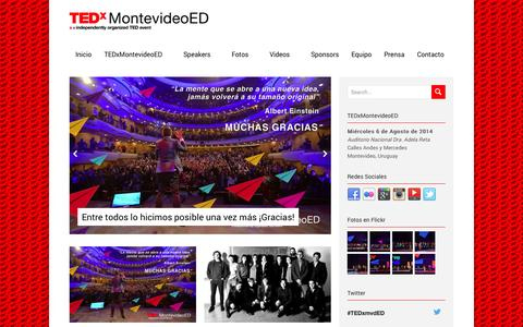 Screenshot of Home Page tedxmontevideo.org - TEDxMontevideoED | TEDxMontevideo - captured Sept. 23, 2014