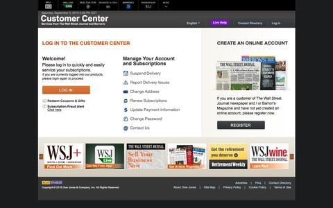 Screenshot of Support Page wsj.com - Customer Center - Login - Barron's - captured Sept. 3, 2016