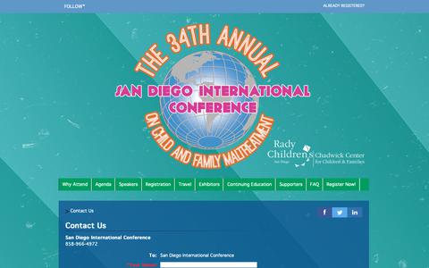 Screenshot of Contact Page FAQ Page cvent.com - The 34th  Annual San Diego International Conference on Child and Family Maltreatment - Contact Us | Online Registration by Cvent - captured Oct. 25, 2018