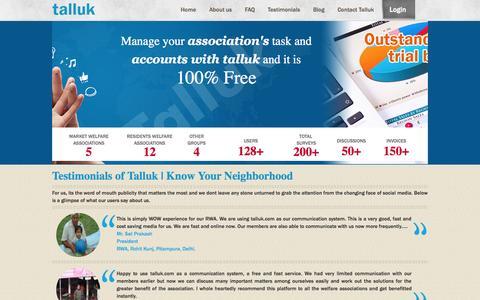 Screenshot of Testimonials Page talluk.com - Testimonials of Talluk   Know Your Neighborhood - captured Oct. 27, 2014