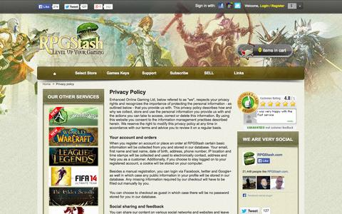 Screenshot of Privacy Page rpgstash.com - Privacy policy - RPGStash - captured Oct. 3, 2014