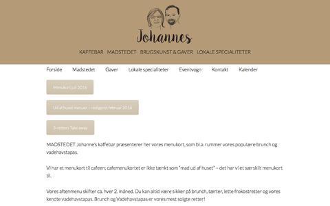 Screenshot of Menu Page johanneskaffebar.dk - Menu - johanneskaffebar.dk - captured Aug. 7, 2016