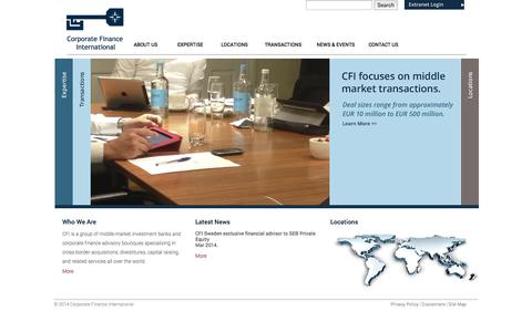Screenshot of Home Page thecfigroup.com - Corporate Finance International - Buy side advisory | Sell side advisory | Sourcing - captured Oct. 3, 2014