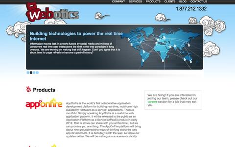 Screenshot of Products Page webotics.net - Products - captured Oct. 26, 2014