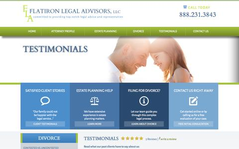 Screenshot of Testimonials Page flatironlegal.com - Testimonials | Estate Planning Lawyer in Boulder - captured Oct. 6, 2014