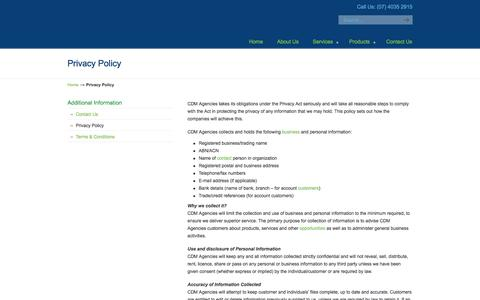 Screenshot of Privacy Page cdminnovations.com - Privacy Policy «  CDM Innovations - captured Oct. 1, 2014