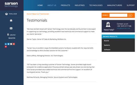 Screenshot of Testimonials Page sarsen.net - Testimonials - Sarsen Technology - captured Sept. 27, 2018