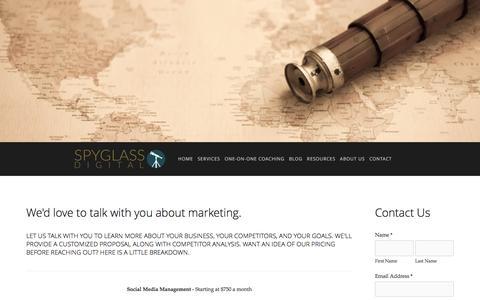 Screenshot of Pricing Page spyglassdigital.com - Pricing   Internet Marketing Services Ń Spyglass Digital - captured Jan. 13, 2016