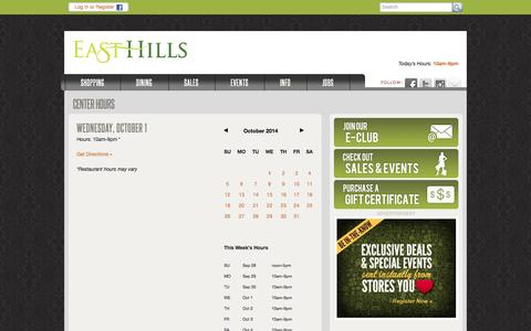 Screenshot of Hours Page shopeasthills.com - Mall Hours :: East Hills :: Mall in St. Joseph, MO - captured Oct. 1, 2014