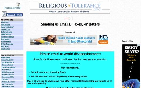 Screenshot of Contact Page religioustolerance.org - Contacting us - captured Oct. 31, 2014