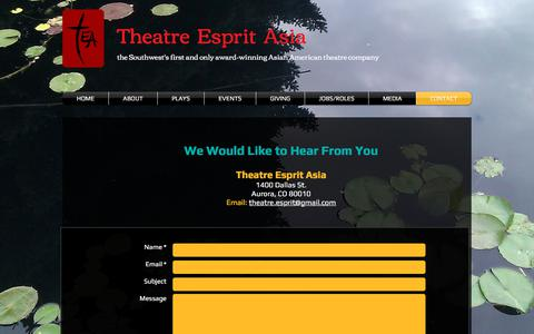 Screenshot of Contact Page teatheatre.org - Theatre Esprit Asia Contact - captured July 7, 2018