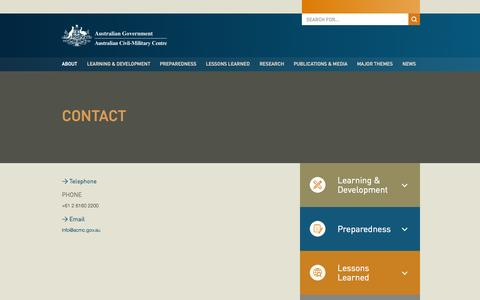 Screenshot of Contact Page acmc.gov.au - Contact | Australian Civil-Military Centre - captured Nov. 2, 2014