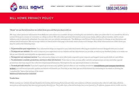 Screenshot of Privacy Page billhowe.com - Bill Howe Privacy Policy - captured Feb. 7, 2016