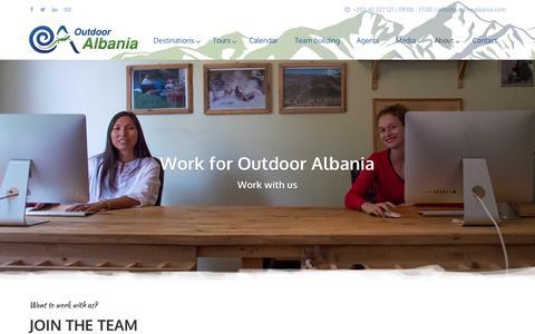 Screenshot of Jobs Page outdooralbania.com - Work for Outdoor Albania - Outdoor Albania - captured Dec. 6, 2016