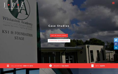 Screenshot of Case Studies Page jpf-systems.co.uk - JPF Systems' Case Studies | Aluminium Glazing in Liverpool & North West - captured July 27, 2018