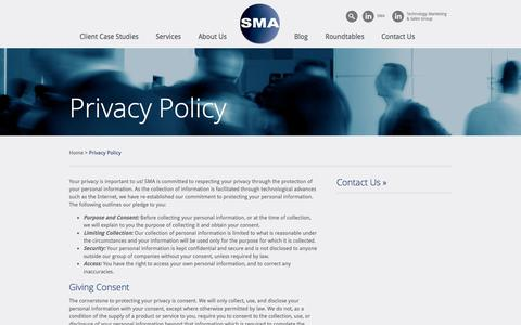 Screenshot of Privacy Page smaworld.com - Privacy Policy | SMA - captured Oct. 3, 2014