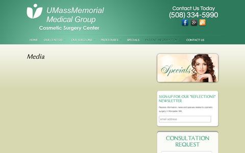 Screenshot of Press Page cosmeticsurgicenter.com - Media - captured May 14, 2016