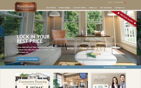 Screenshot of Home Page waynehomes.com - Wayne Homes   Custom homes built on your land - captured Sept. 20, 2018