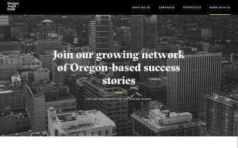 Screenshot of Contact Page oregonangelfund.com - Work With Us — Oregon Angel Fund - captured Aug. 13, 2016