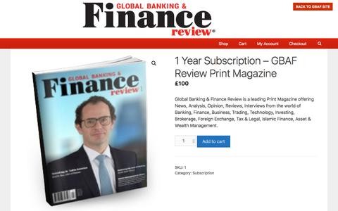 1 Year Subscription – GBAF Review Print Magazine – GBAF Review Magazine Subscription Advertisements