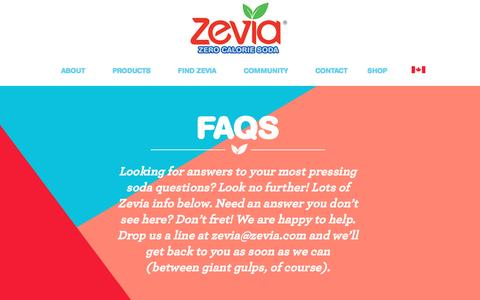 Screenshot of FAQ Page zevia.com - Facts About Zevia Soda - Non GMO Gluten Free Soda - No Caramel Color| Zevia Zero Calorie Soda - captured July 9, 2016