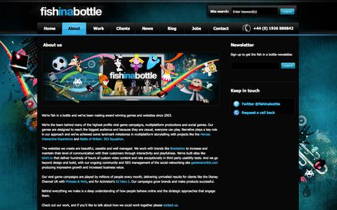Screenshot of About Page fishinabottle.com - fish in a bottle - About fish in a bottle - captured Sept. 30, 2014