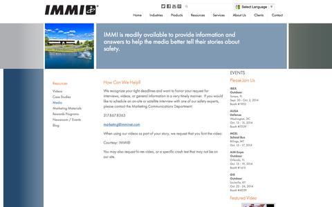 Screenshot of Press Page imminet.com - Media - IMMI - captured Oct. 3, 2014