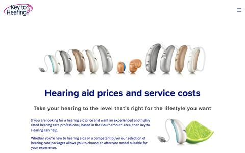 Screenshot of Pricing Page keytohearing.co.uk - Hearing Aid Prices - How much do they cost? - Find out now! - captured Sept. 20, 2018