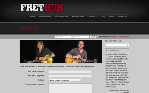 Screenshot of Contact Page frethub.com - Online guitar lessons at FretHub.com – FREE guitar lessons available     Contact Us - captured Oct. 29, 2014