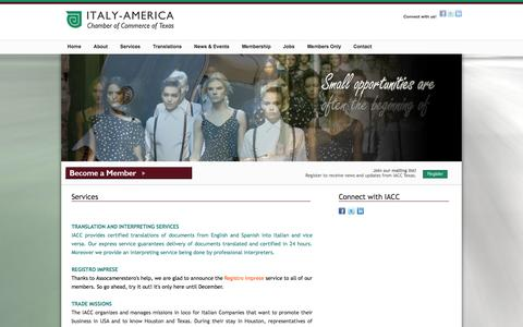 Screenshot of Services Page iacctexas.com - Italy America Chamber of Commerce Services, Italian American Corporations, Professionals, Merchants, Chamber of Commerce in Texas - captured Oct. 8, 2014