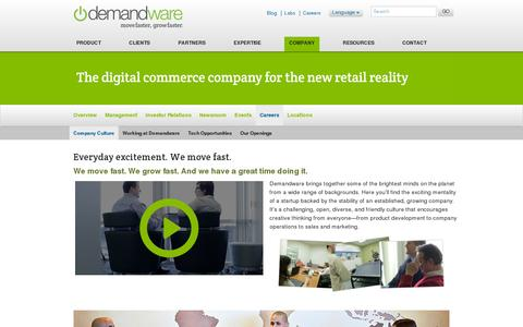Screenshot of Jobs Page demandware.com - Demandware | Company Culture - captured July 21, 2014