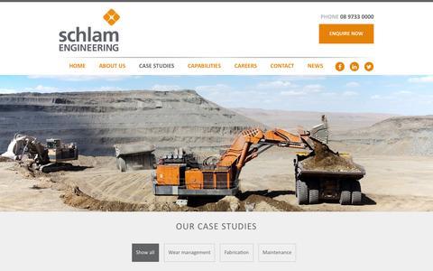 Screenshot of Case Studies Page schlam.com.au - Schlam Mining Equipment & Plant Case Studies - captured Feb. 4, 2016