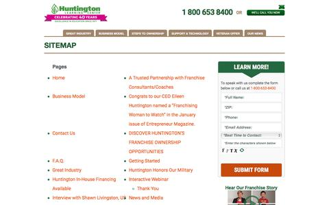 Screenshot of Site Map Page huntingtonfranchise.com - Huntington Franchise Sitemap | Huntington Franchise - captured Aug. 14, 2017