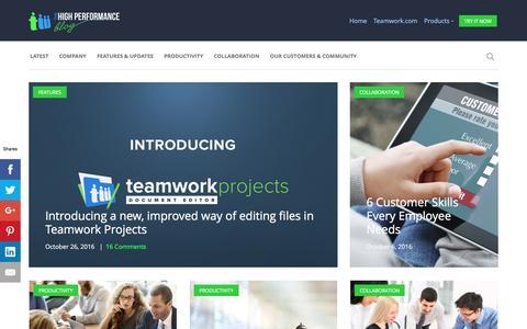 Screenshot of Blog teamwork.com - Teamwork.com - The High Performance Blog - captured Oct. 28, 2016