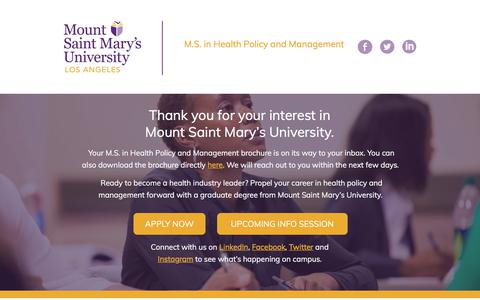 Screenshot of Landing Page msmu.edu - M.S. in Health Policy and Management – Public Health Masters | MSMU - captured April 9, 2018